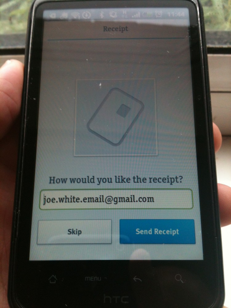 iZettle Receipt Screen